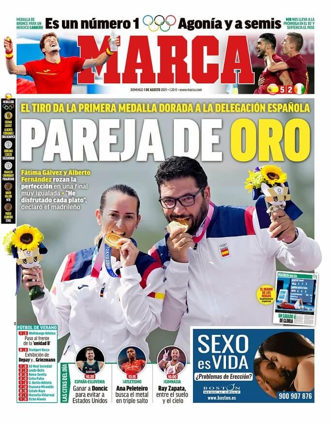 Portadas Diarios Deportivos Domingo 1/8/2021