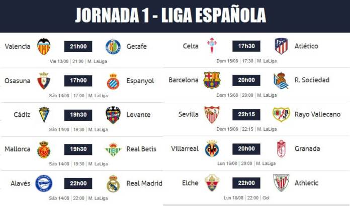 Partidos Jornada 1 Liga Española 2021-22