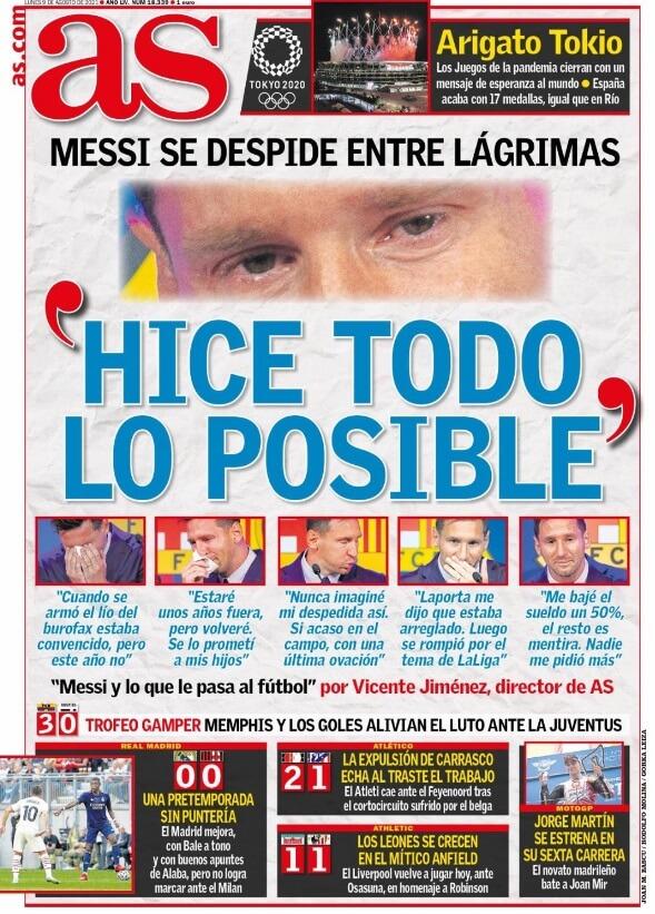 Portadas Diarios Deportivos Lunes 9/8/2021