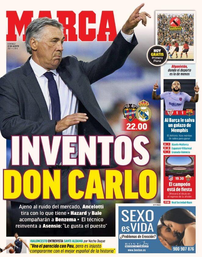 Portadas Diarios Deportivos Domingo 22/8/2021
