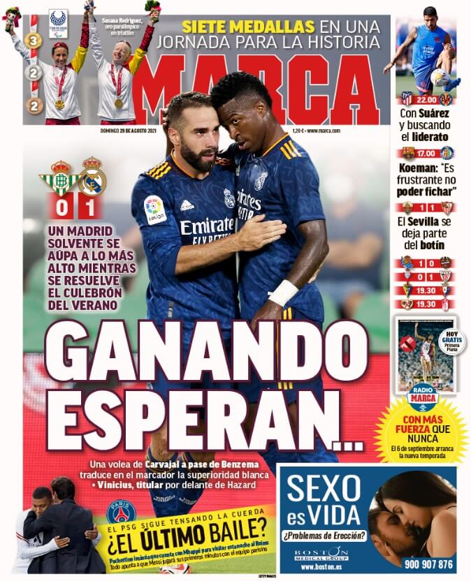 Portadas Diarios Deportivos Domingo 29/8/2021