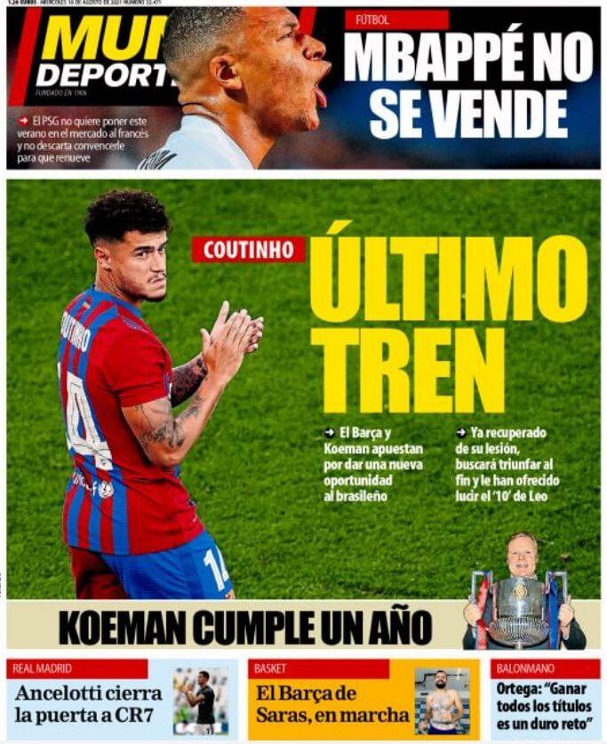 Portadas Diarios Deportivos Miércoles 18/8/2021