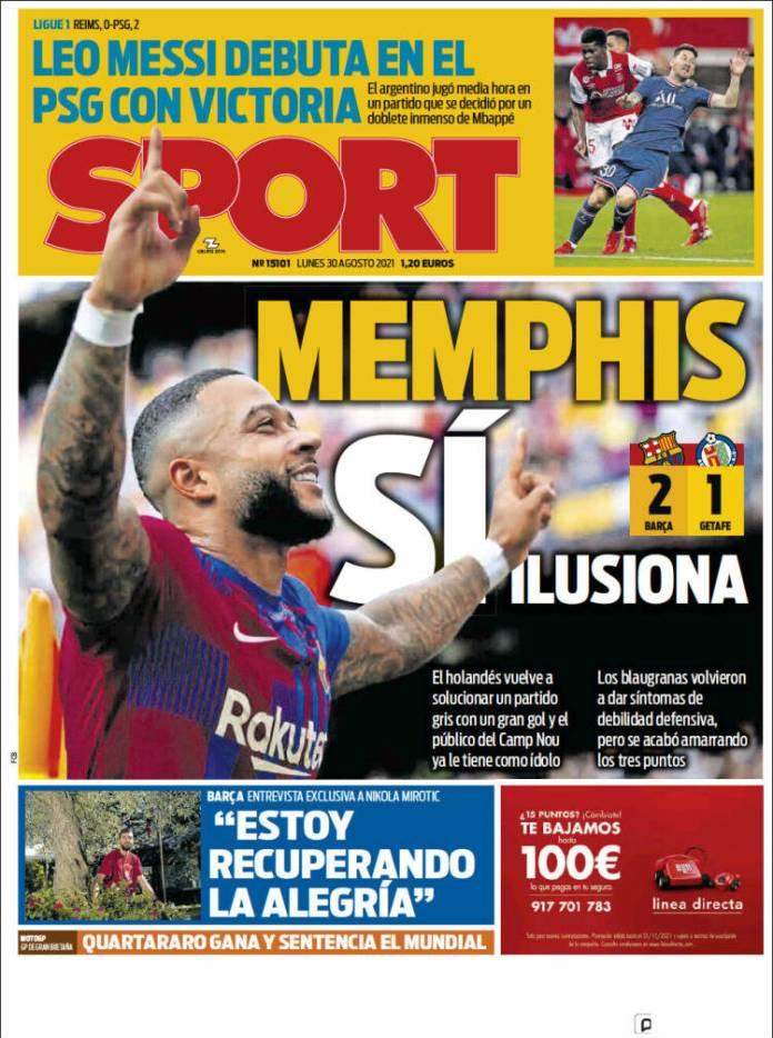 Portadas Diarios Deportivos Lunes 30/8/2021