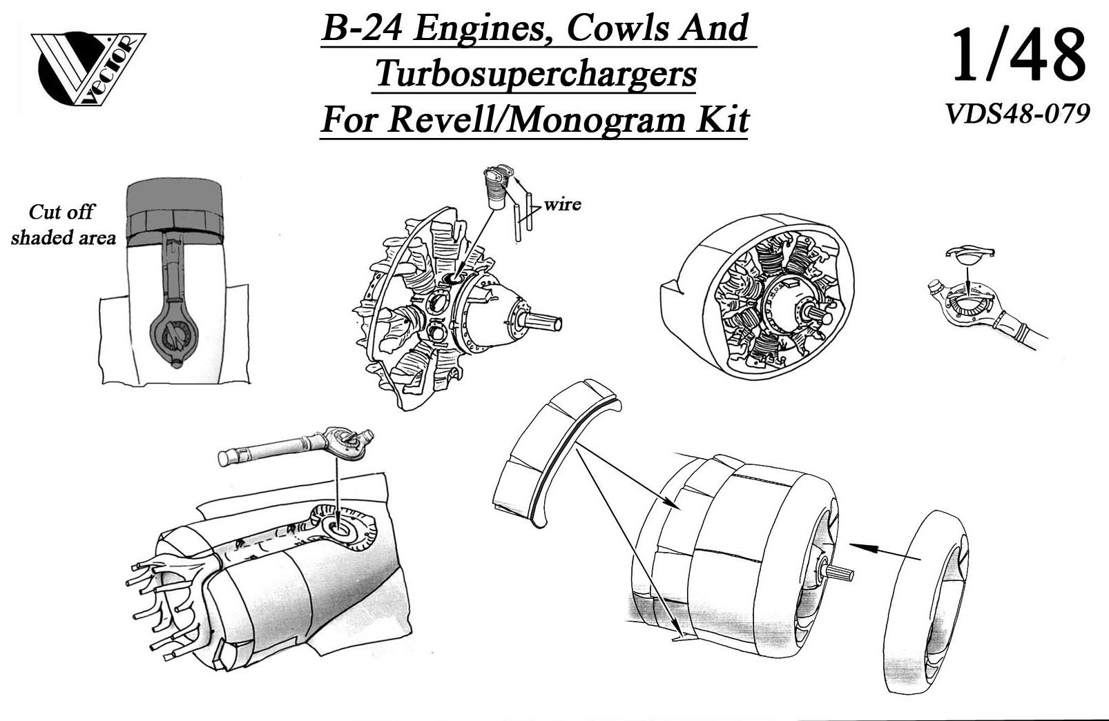 B 24 Liberator Cowl And Engine Set