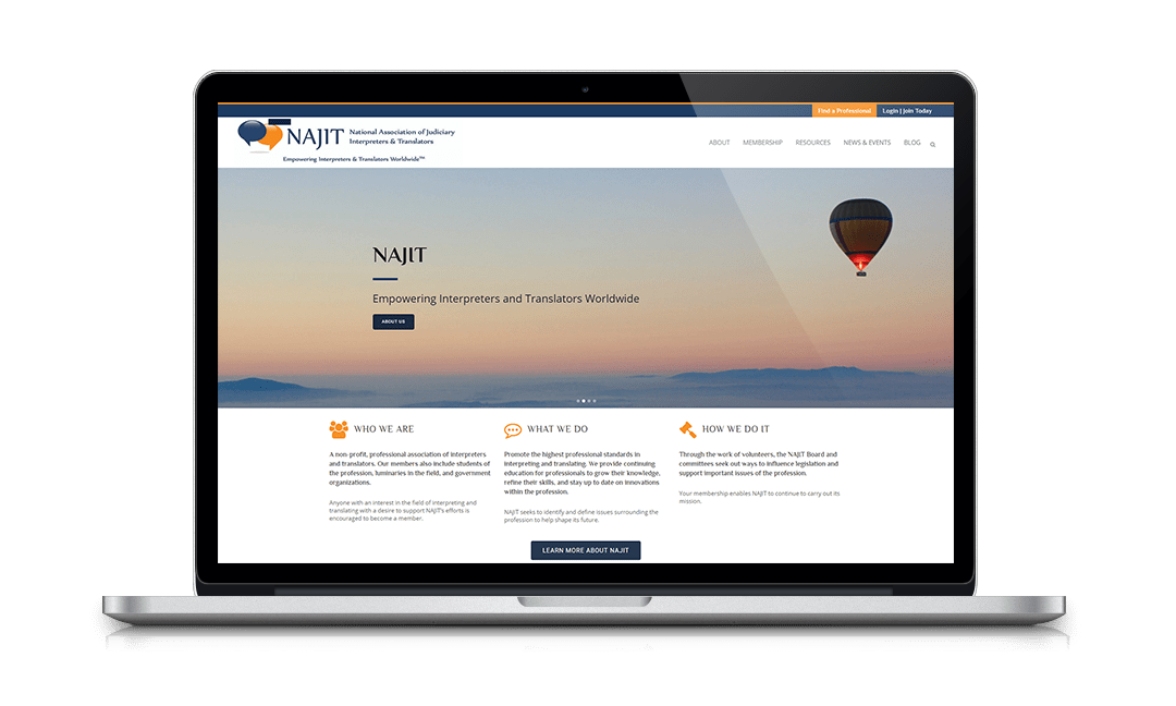 NAJIT uses their Neon Web Studio website to engage their members and promote their mission.