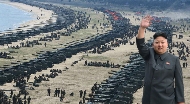 north korea have released shocking images of massive military drills that show the west