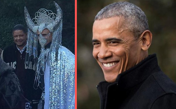 side by side the person dressed as satan looks just like obama
