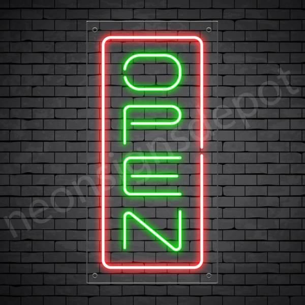 Vertical neon open sign green-red transparent bg