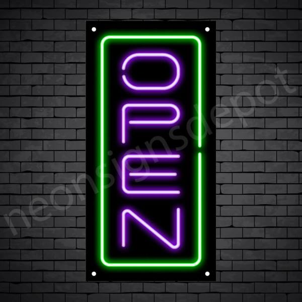 Vertical neon open sign purple-green black bg