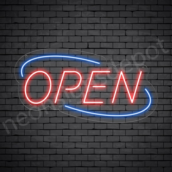 Deco Open Neon Sign Red Blue