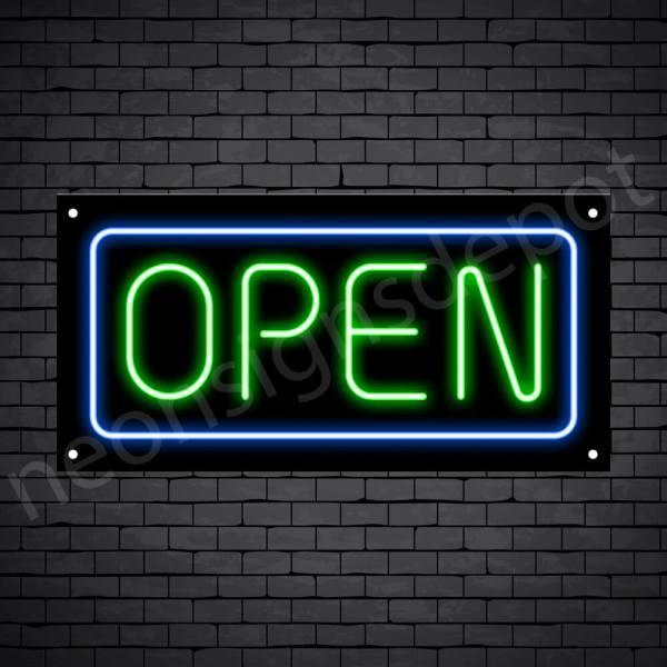 horizontal open neon sign -black back GREEN,BLUE