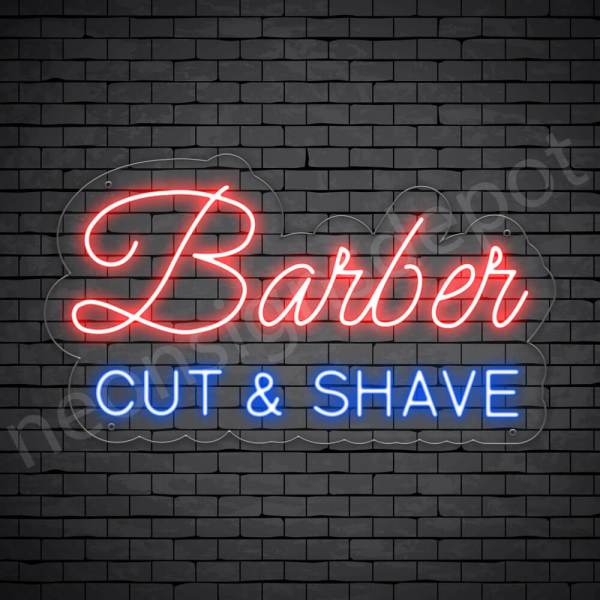 Barber Neon Sign Barber Cut&Shave Transparent - 24x14