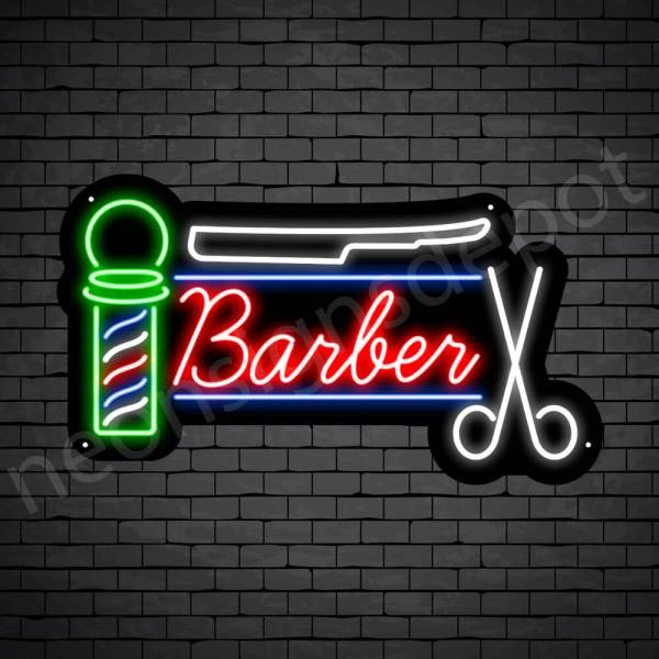 Barber Neon Sign Barber Tools Black - 24x14