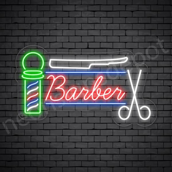 Barber Neon Sign Barber Haircut Transparent - 24x14