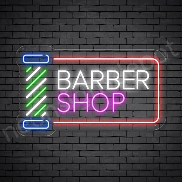 Barber Neon Sign Barber Shop Cut & Shave Open Transparent - 24x14