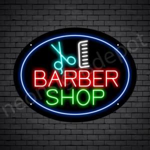 Barber Neon Sign Barbershop Scissor and Comb - Black