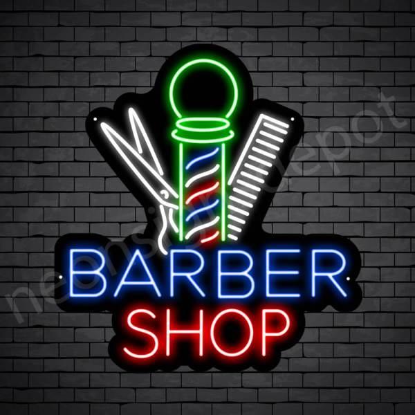 Barber Neon Sign Barbershop Tools - black
