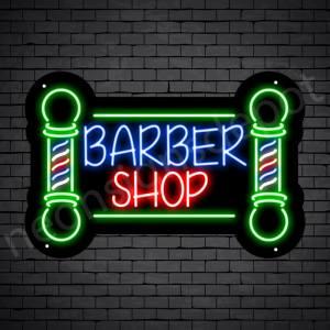 Barber Neon Sign Barbershop Two Poles Black - 24x16