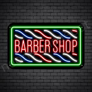 Barber Neon Sign Barbershop Horizontal Poles Black - 24x14