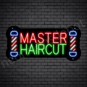 Barber Neon Sign Master Haircut POLE - Black