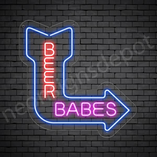Beer Babes Neon Bar Sign - Transparent