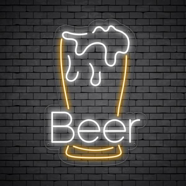 Beer Neon Sign Pint with letters Beer