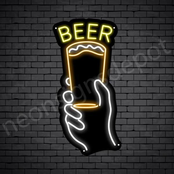 Beer Neon Sign Hand Raise Beer - 24x12