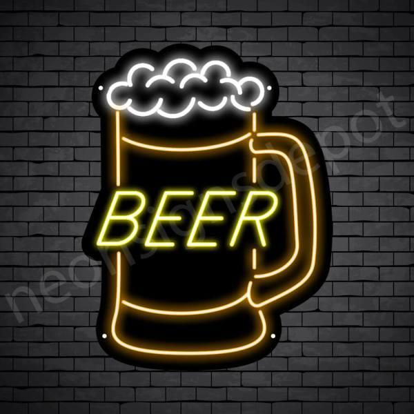 Beer Neon Sign Jar Beer - Black