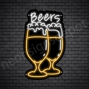 Beer Neon Sign Wine Glass Full Beer - 15x24