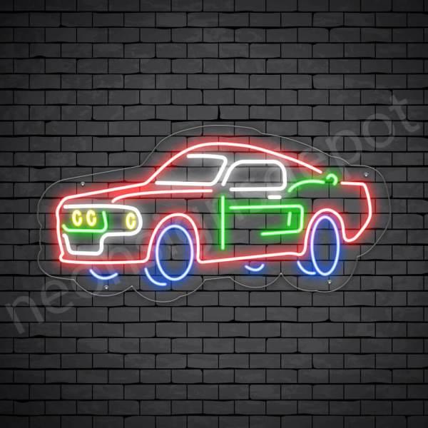Car Neon Sign Classic Auto Car Transparent - 24x12
