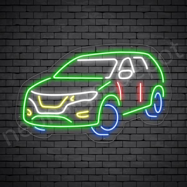 Car Neon Sign SUV Car - Transparent