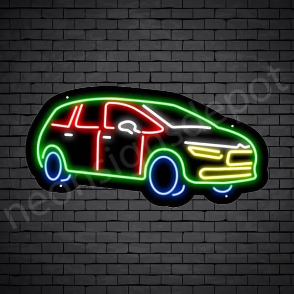 Car Neon Sign SUV Style Black - 24x12
