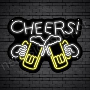 Cheers Draft Beer Neon Sign - Black
