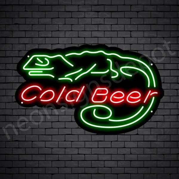 Cold Beer Lizard Neon Bar Sign - Black