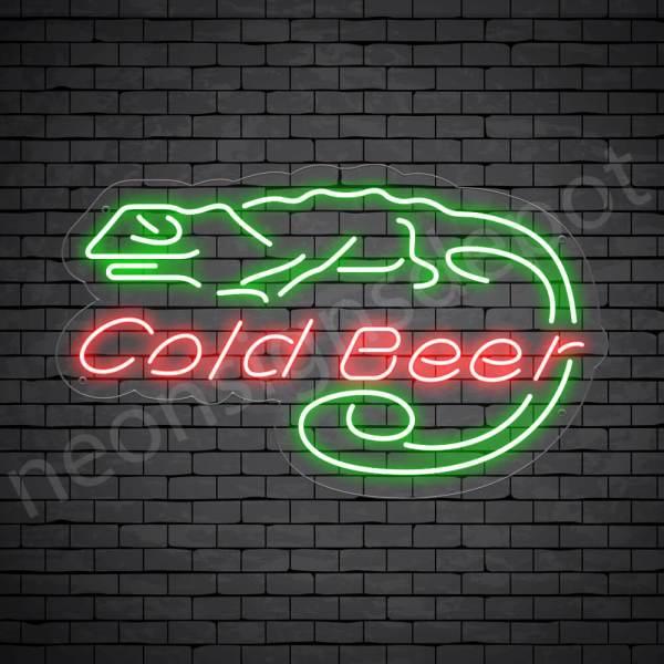 Cold Beer Lizard Neon Bar Sign - Transparent