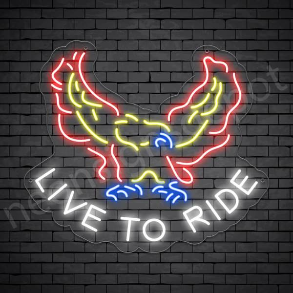 Live To Ride Eagle Neon Sign - Transparent