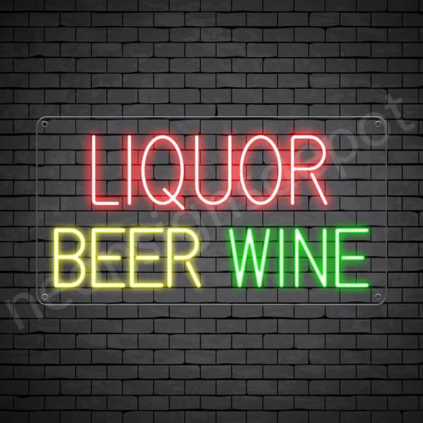 Liquor Beer Wine Neon Sign - transparent