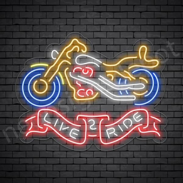 Motorcycle Neon Bar Sign - Transparent
