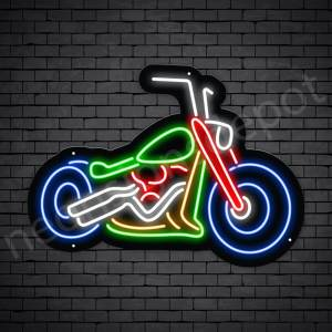 Motorcycle Neon Sign Big Bike Chopper Black - 30x22
