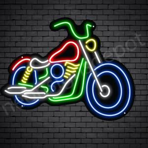 Motorcycle Neon Sign Chopper Style Black - 24x18