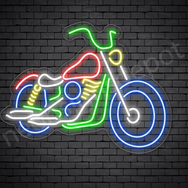 Motorcycle Neon Sign Chopper Style Transparent - 24x18