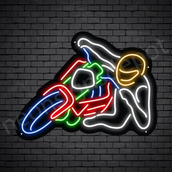 Motorcycle Neon Sign Motor Rider Black - 24x18