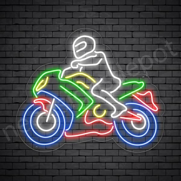 Motorcycle Neon Sign Bike Riders Transparent- 24x20