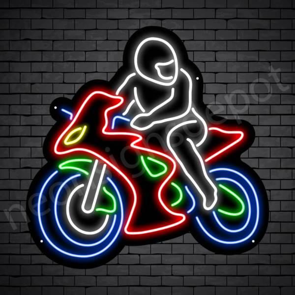 Motorcycle Neon Sign Motorcycle Bike Riders Black - 24x24