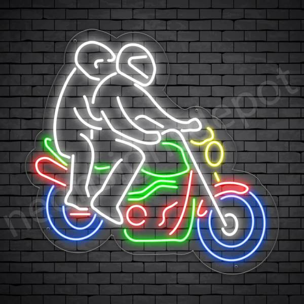 Motorcycle Neon Sign Motorcycle Bike Style Transparent - 24x23