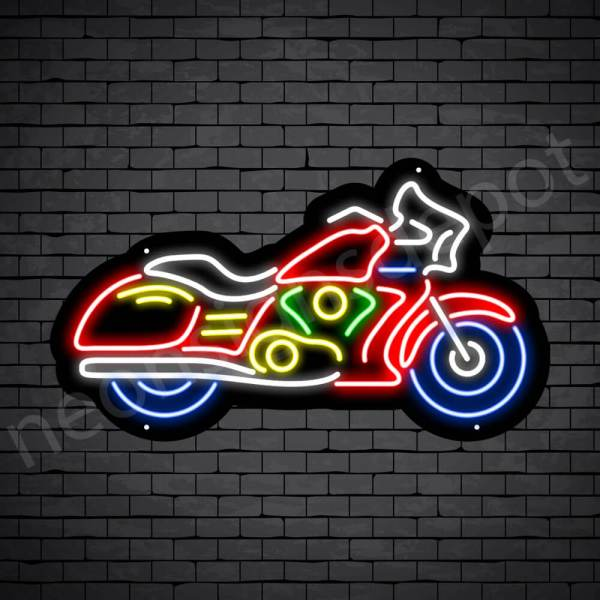 Motorcycle Neon Sign Riders Bike Black - 24x14