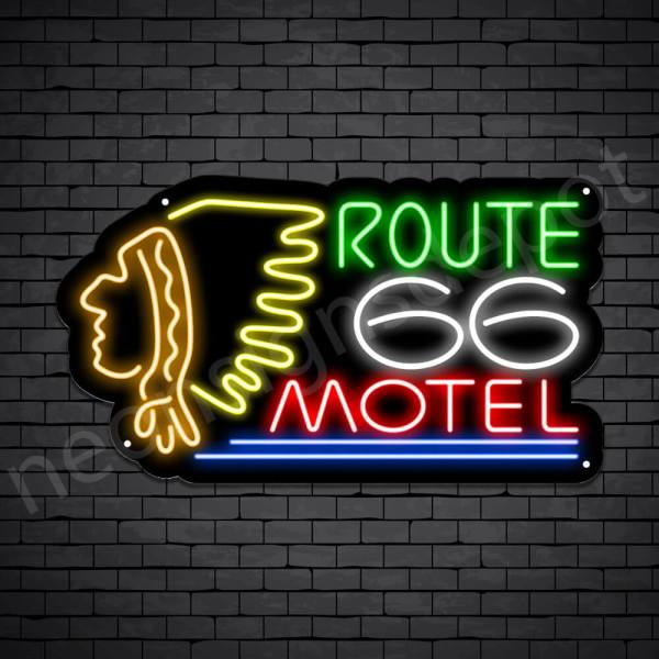 Route 66 Motel Neon Sign - Black
