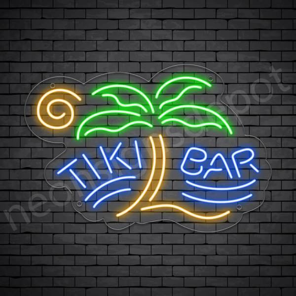 Tiki Bar Palm Neon Bar Sign - Transparent
