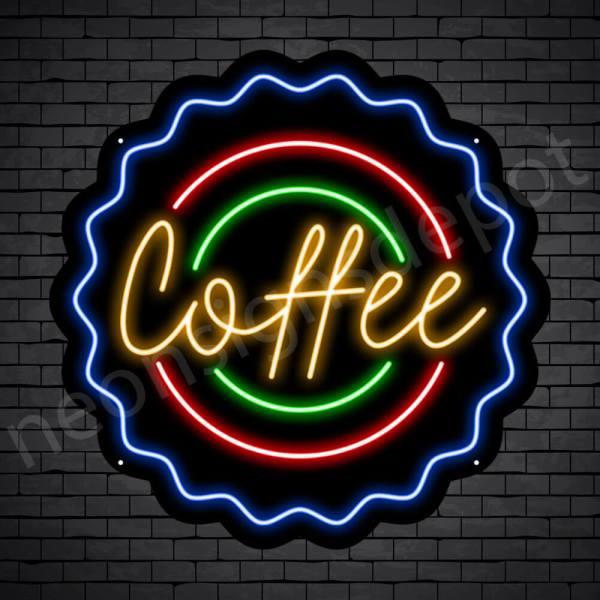 Coffee Neon Sign Coffee Cap Black 24x24