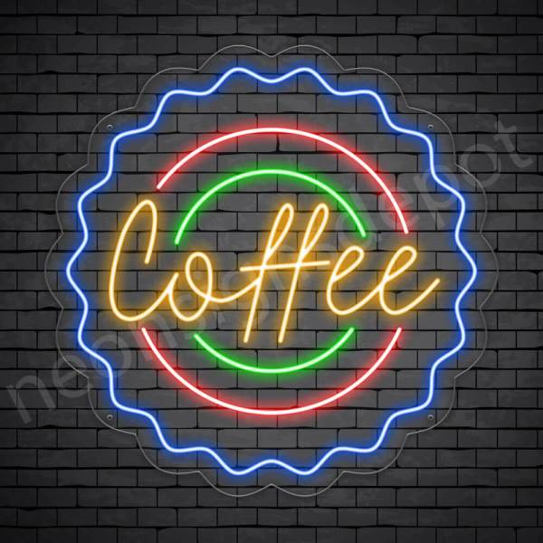 Coffee Neon Sign Coffee Cap Transparent
